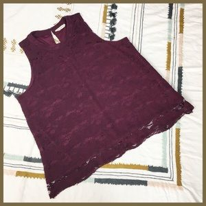 Beautiful Floral Lace Maroon Career Top size XL
